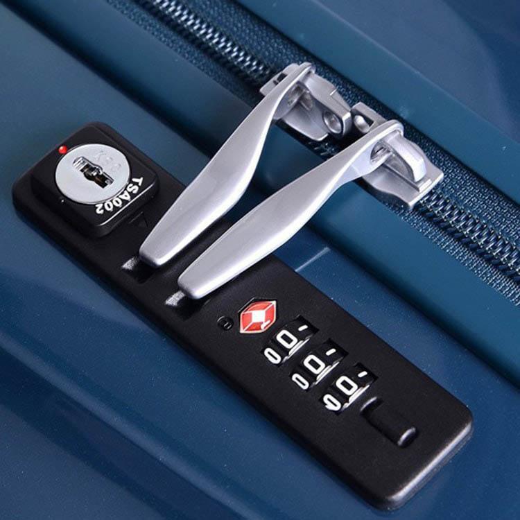 Большой синий чемодан 50,5х76,5х30см Lojel Wave с глянцевым покрытием и колесиками на шарнирах