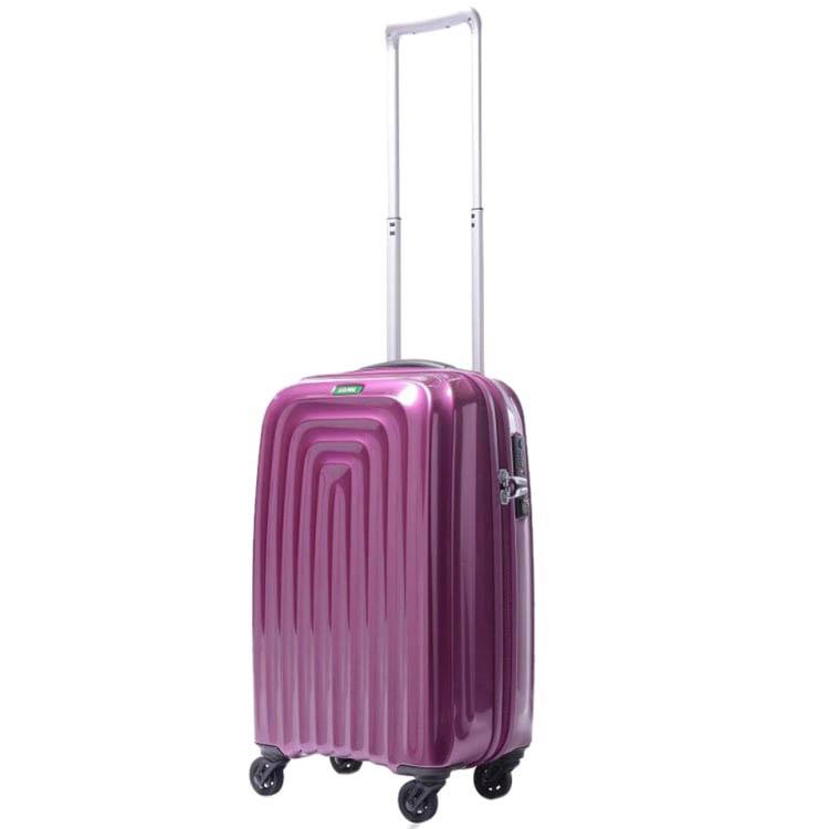 Небольшой фиолетовый чемодан 35х55х22,5см Lojel Wave на двойной молнии и колесиках
