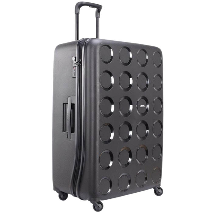 Черный чемодан 55,8x80x34,5см Lojel Vita очень большого размера с тисненными кольцами