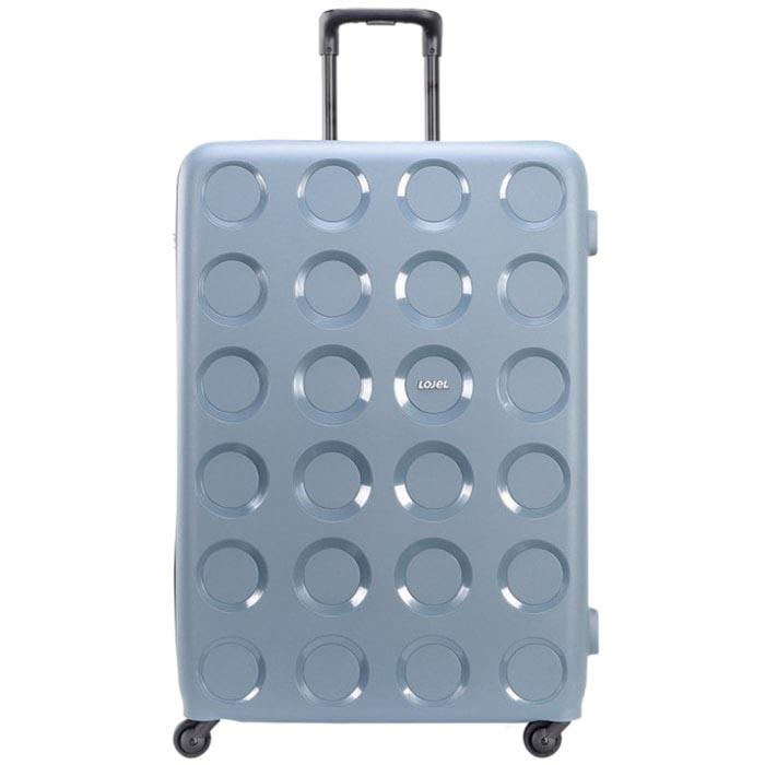 Голубой вместительный чемодан 55,8x80x34,5см Lojel Vita очень большого размера с тисненными кругами