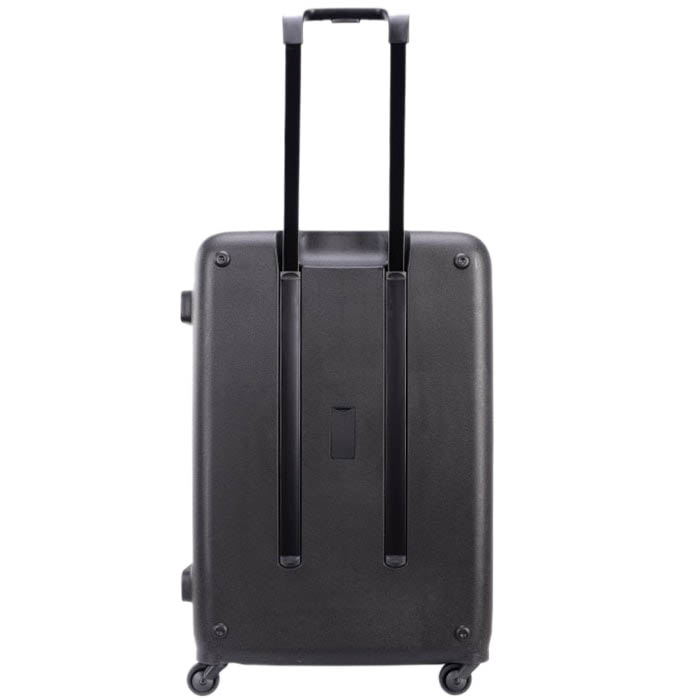 Большой чемодан 49х70,4х29,3см Lojel Vita черного цвета с тисненными кругами и выдвижной ручкой