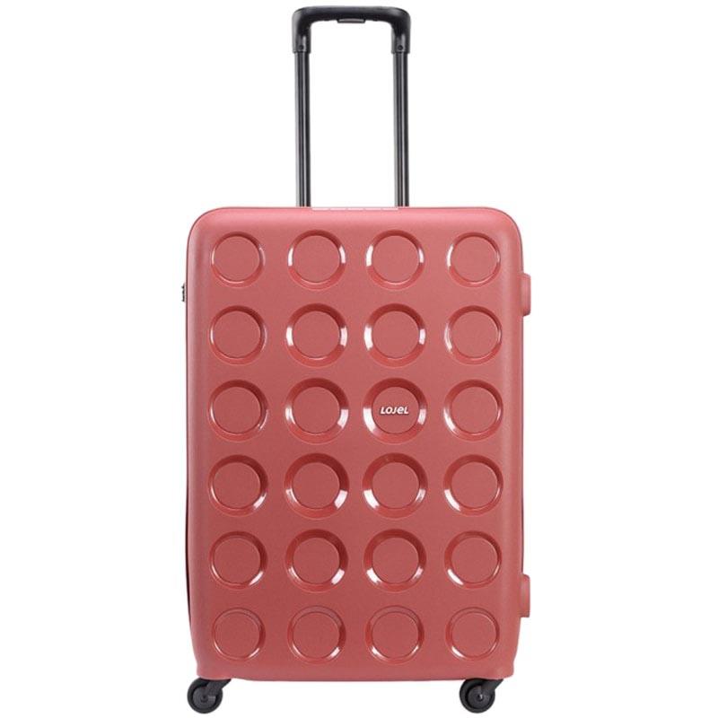 Большой красный чемодан 49х70,4х29,3см Lojel Vita с тисненными кругами и выдвижной ручкой