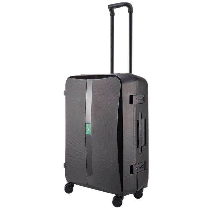 Черный матовый чемодан 43,6x64,8x26,8см Lojel Octa 2 среднего размера на 4 замках