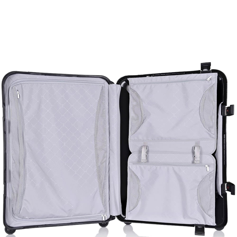 Серый чемодан 43,6x64,8x26,8см Lojel Octa среднего размера на защелках с выдвижной ручкой