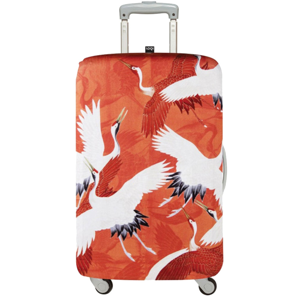 Чехол для чемодана Loqi Museum Woman's Haori White & Red Cranes Medium