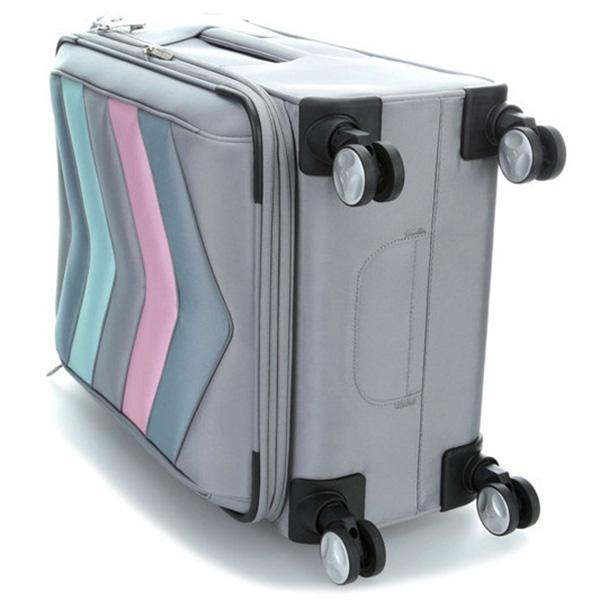 Серый чемодан 42x65x30-34см Titan Spotlight Soft с цветными вставками