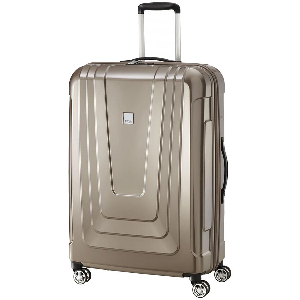 Бежевый чемодан 52x77x29см Titan X-Ray Cafe Au Lait большого размера