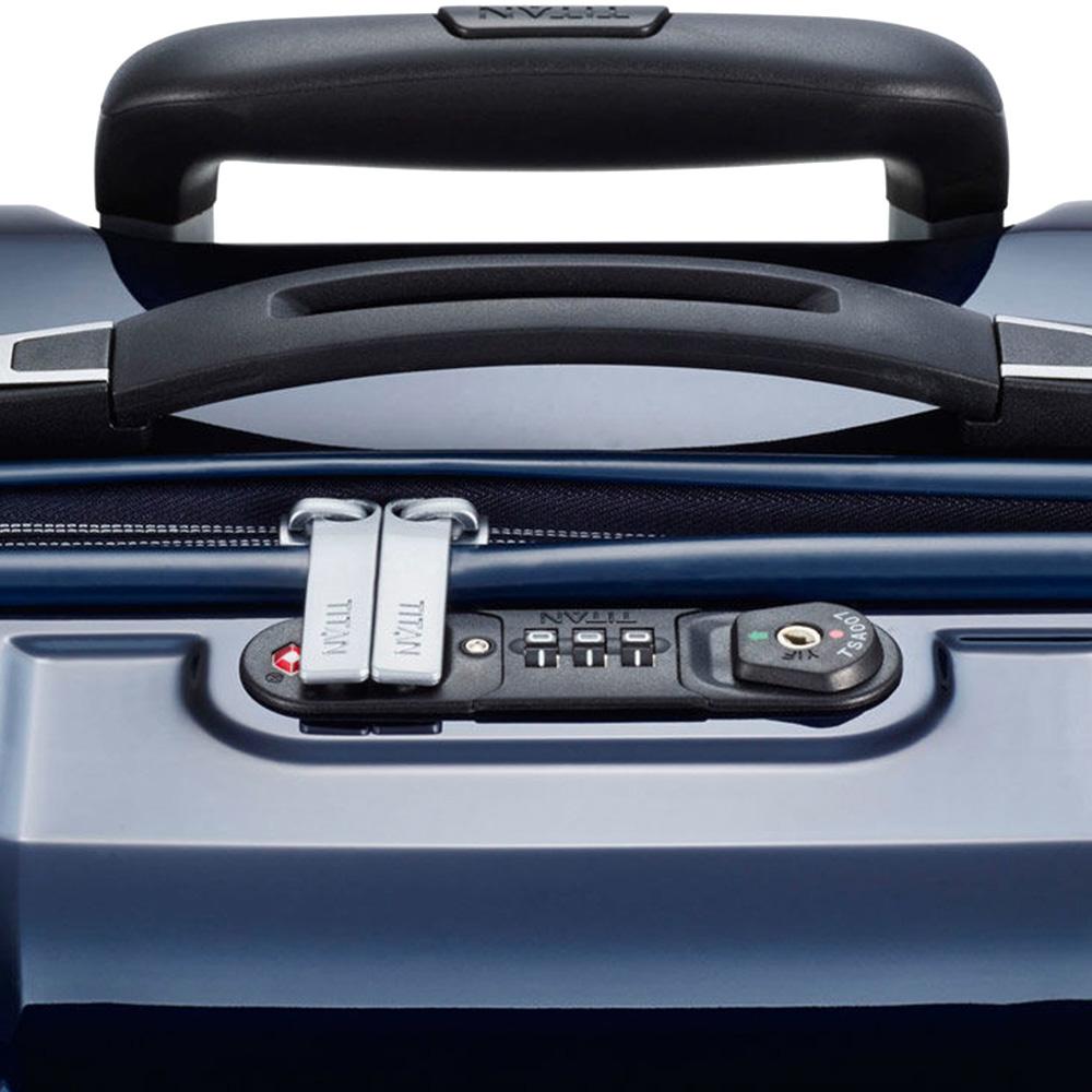 Синий чемодан 50x72x28см Titan X-Ray Space Blue с удвоенными колесами