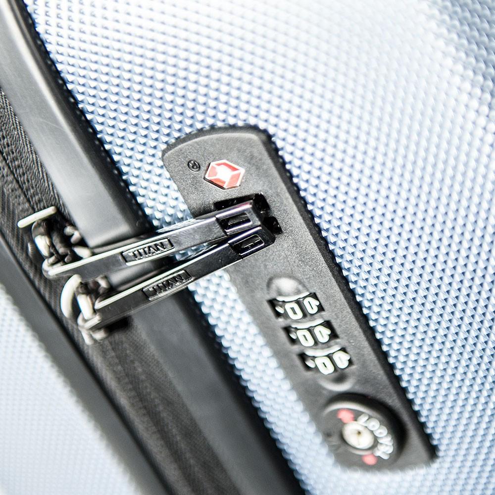 Большой чемодан 74x53х31см Titan Xenon синего цвета с телескопической ручкой