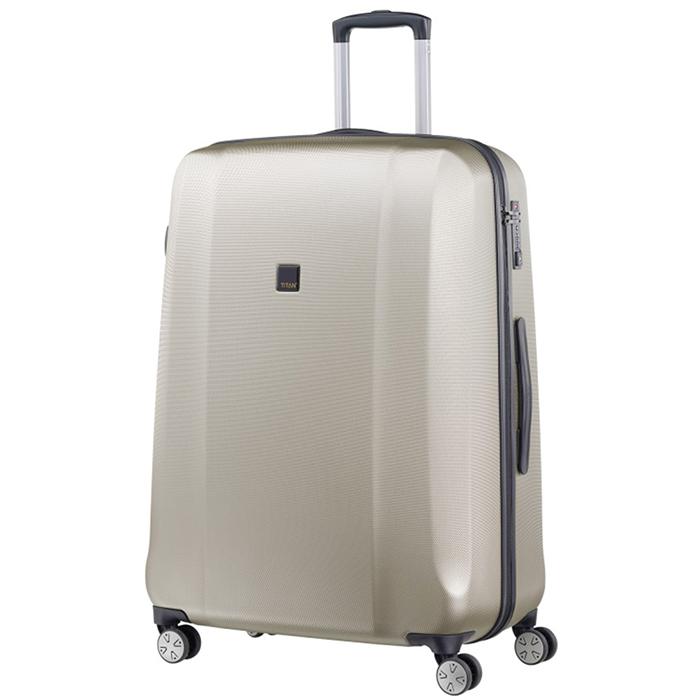 Большой бежевый чемодан 74x53х31см Titan Xenon с системой удвоенных колес