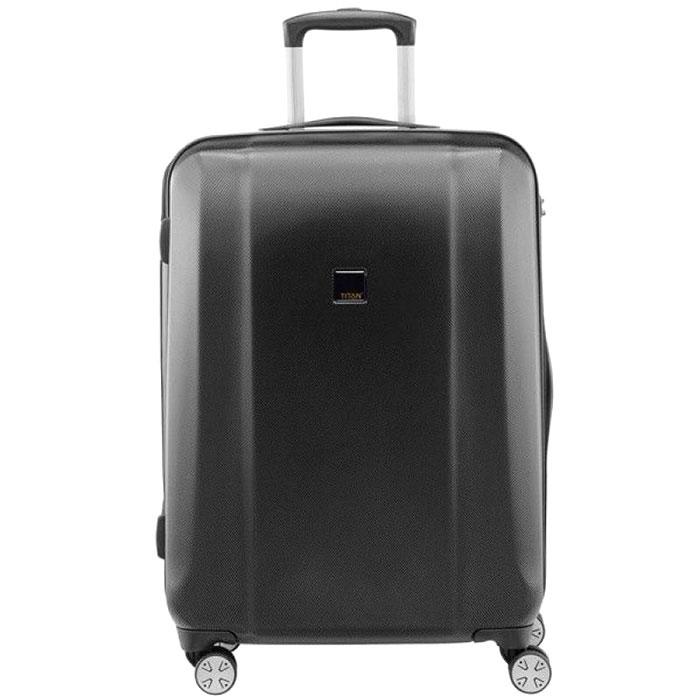 Черный чемодан среднего размера 67x46x28см Titan Xenon из прочного поликарбоната
