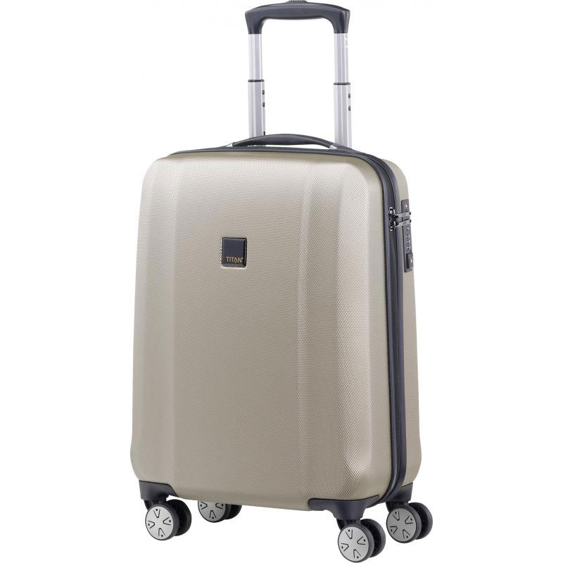 Бежевый чемодан 55x38х20см Titan Xenon с ударопрочным корпусом