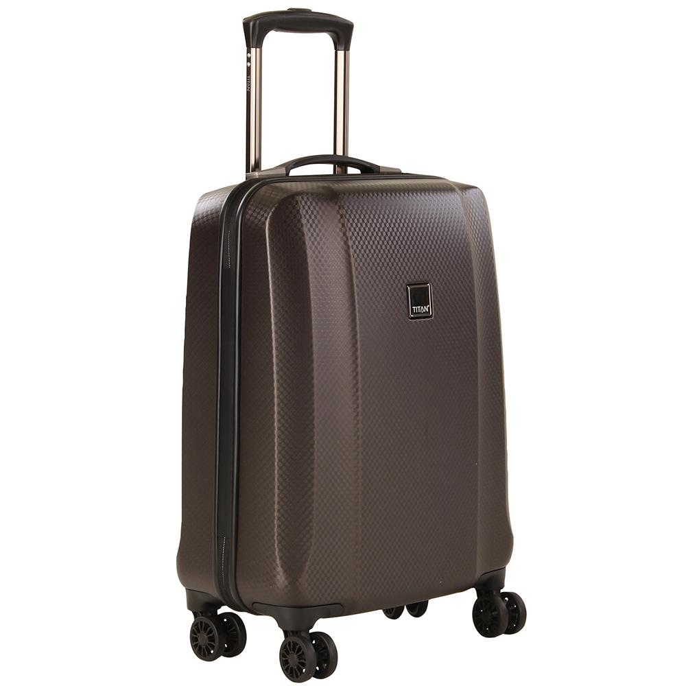 Дорожный коричневый чемодан 55x38х20см Titan Xenon Deluxe маленького размера