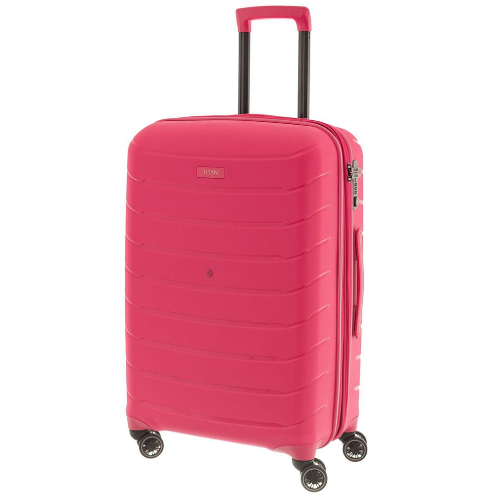 Розовый чемодан на колесах 68x44x26-31см Titan Limit среднего размера
