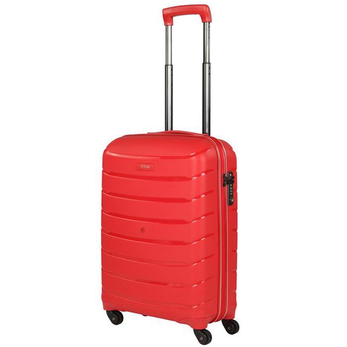 Красный чемодан 55x39х20см Titan Limit с выдвижной телескопической ручкой