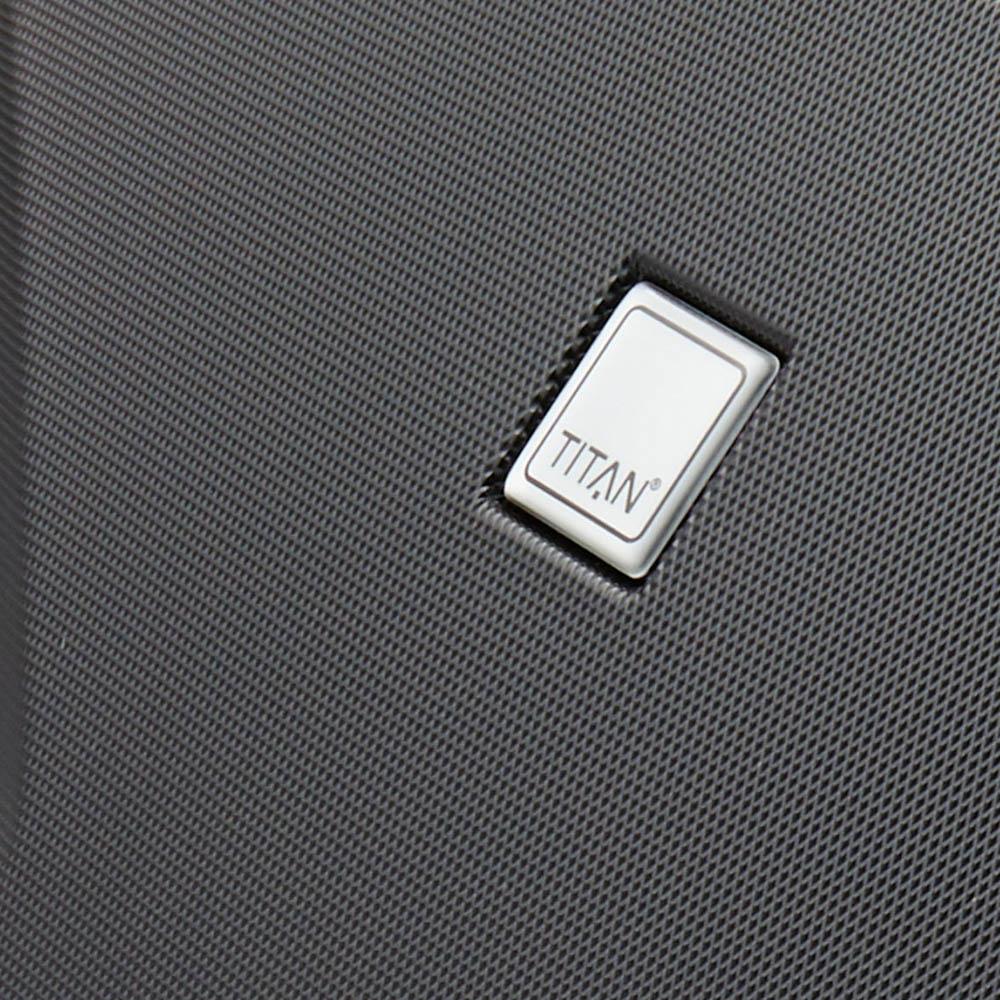 Черный чемодан среднего размера 71x48x28см Titan X2 с гаптическим эффектом