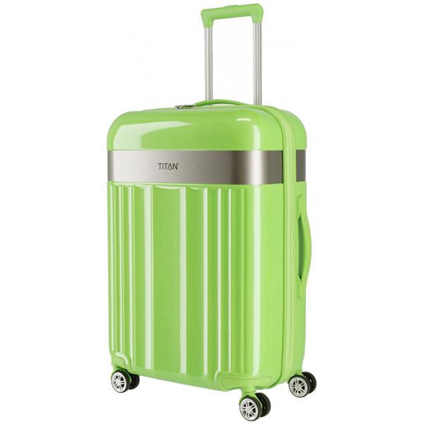 Дорожный чемодан 45x67x27см Titan Spotlight Flash Flashy Kiwi с тележкой