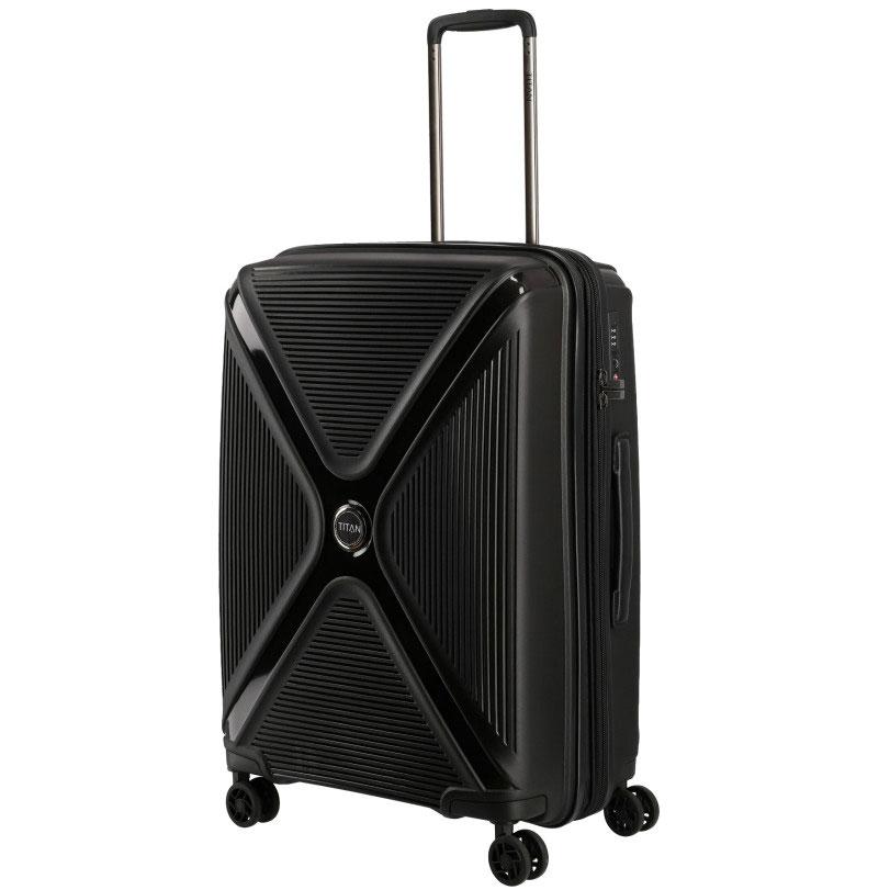 Черный чемодан 45x68x28см Titan Paradoxx с телескопической ручкой