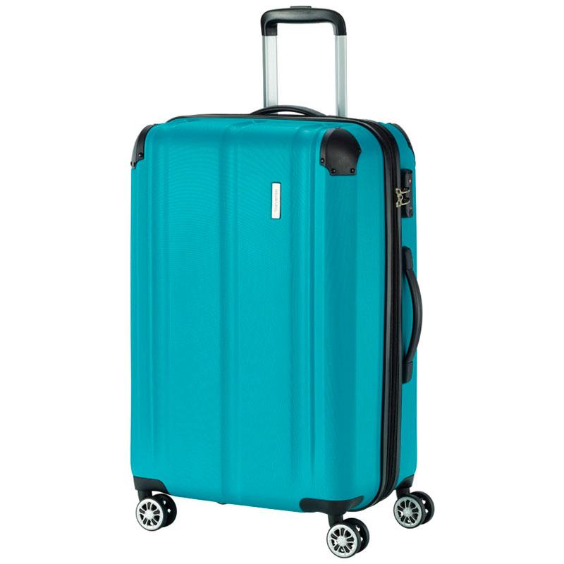Чемодан большой Travelite City голубого цвета 44x68x28см
