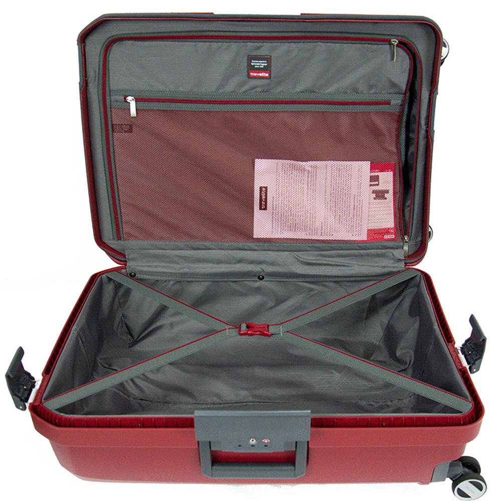 Чемодан красного цвета 39x55x20см Travelite Makro с телескопической ручкой
