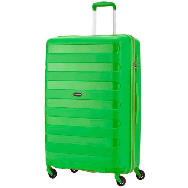Средний чемодан Travelite Nova зеленого цвета на колесах