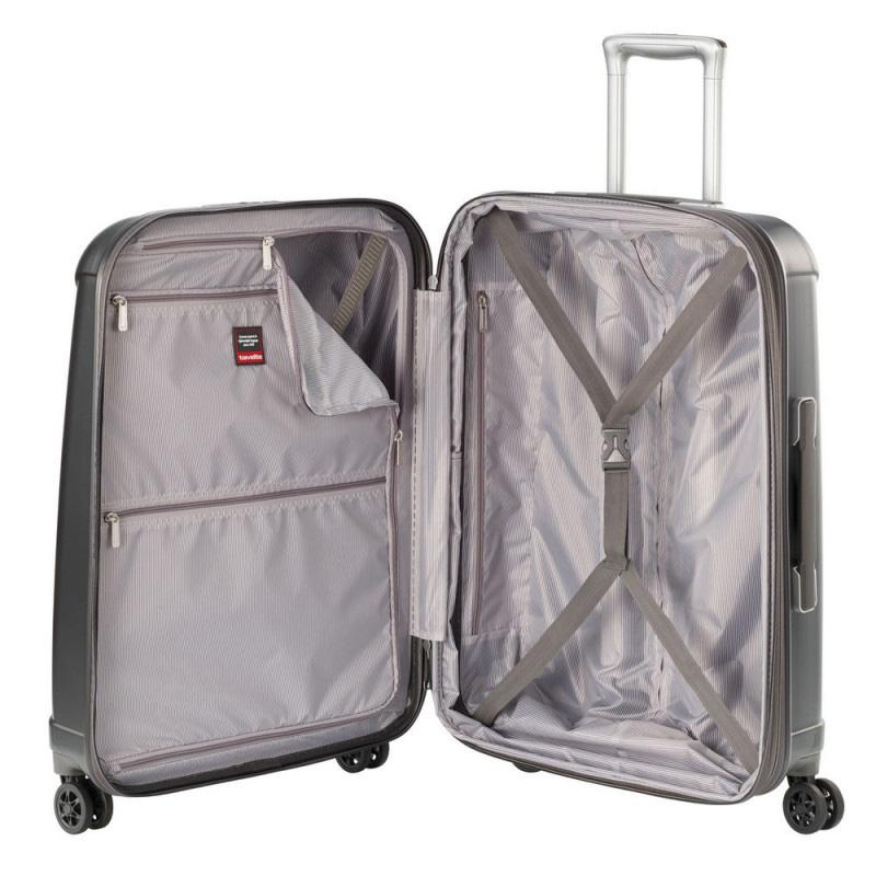 Серый большой чемодан 51x77x30см Travelite Elbe с кодовым замком