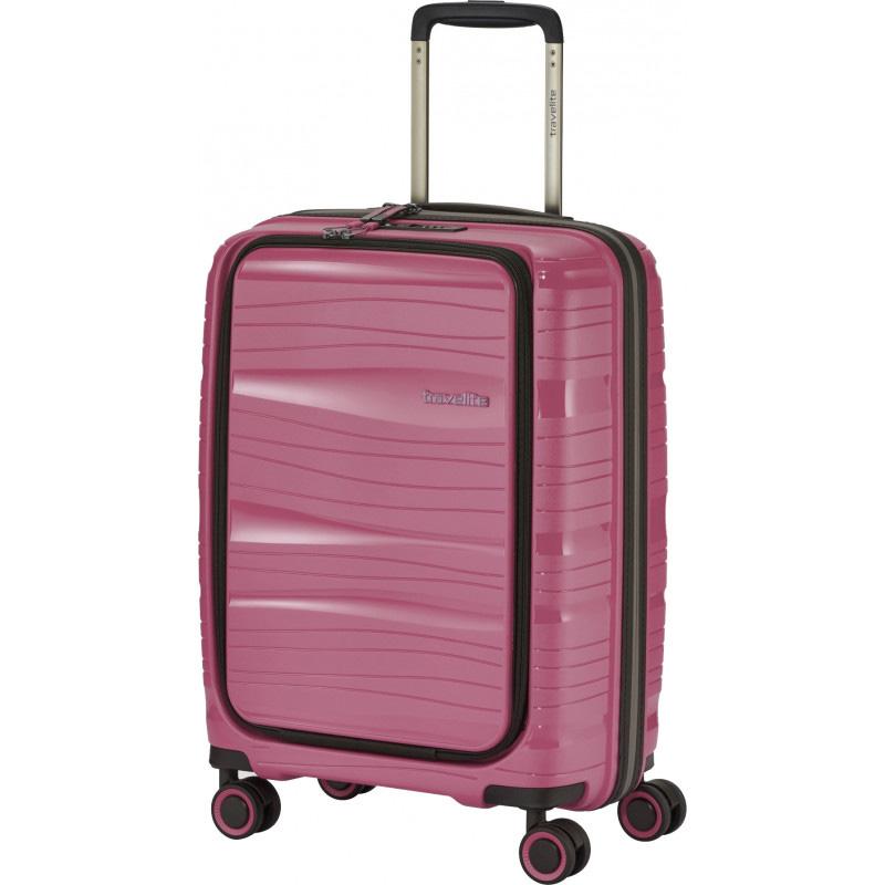 Чемодан с отделением для ноутбука 39x55x23см Travelite Motion розового цвета