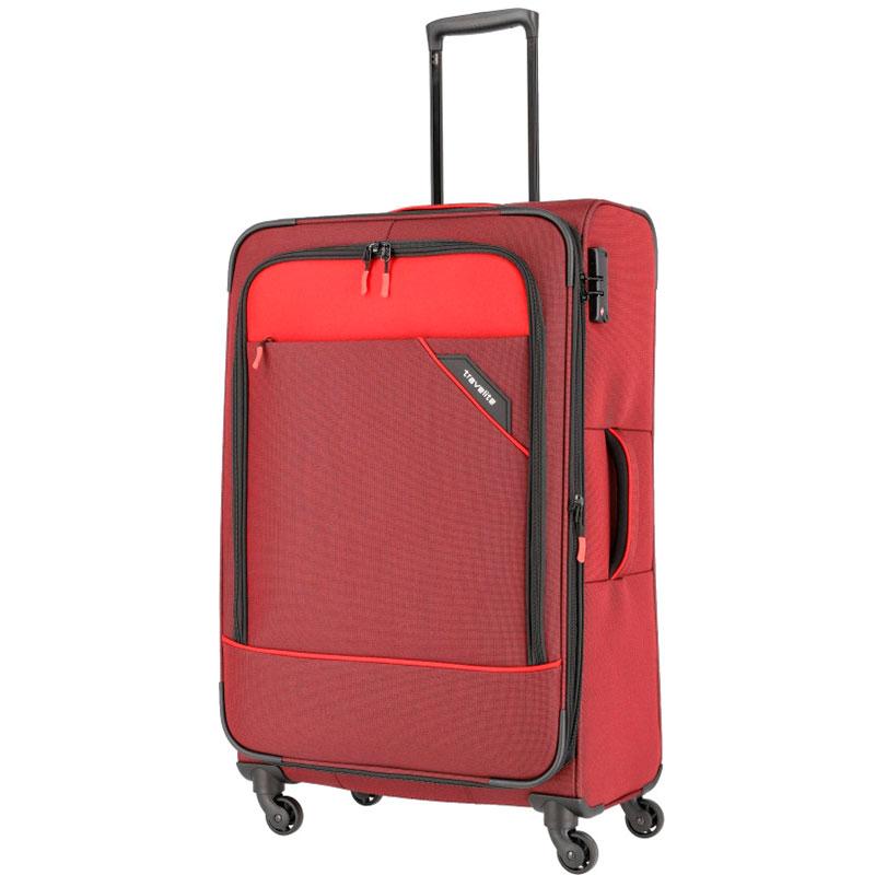 Чемодан на колесах Travelite Derby красного цвета 47x77x30см