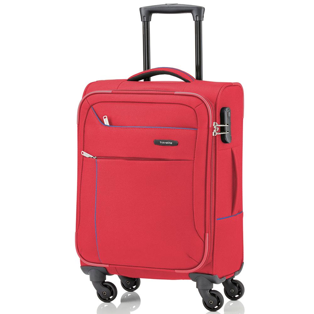 Красный маленький чемодан 54x37х20см Travelite Solaris из текстиля