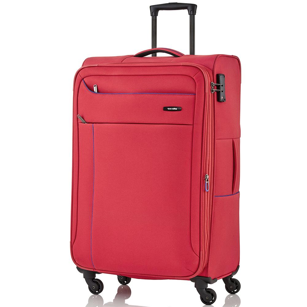 Большой чемодан красного цвета 77x47х30-34см Travelite Solaris на молнии