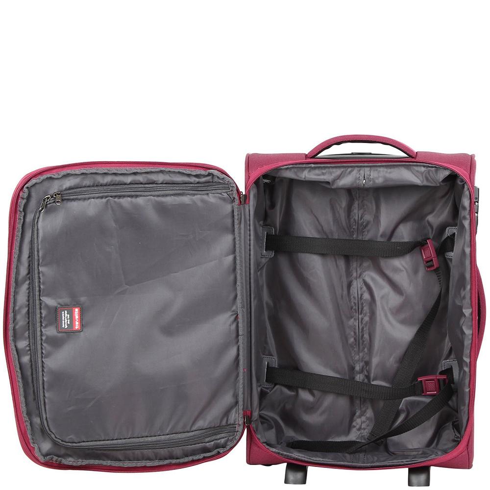 Маленький чемодан 52x36х20-24см Travelite Delta красного цвета на 2х колесах