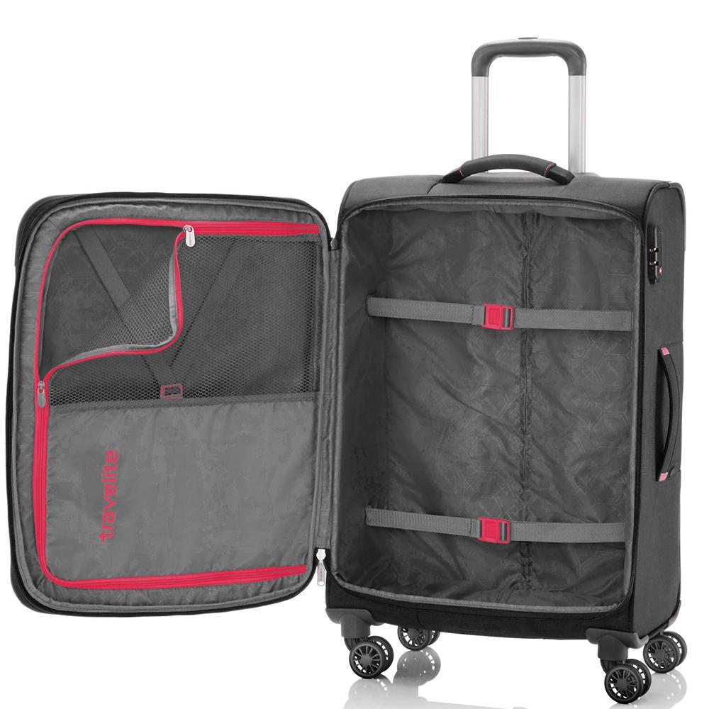 Среднего размера чемодан 66x42x26-30см Travelite Meteor с выдвижной ручкой