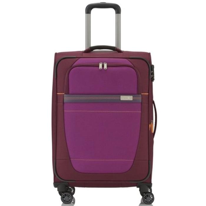 Красный текстильный чемодан 66x42x26-30см Travelite Meteor с малиновым декором