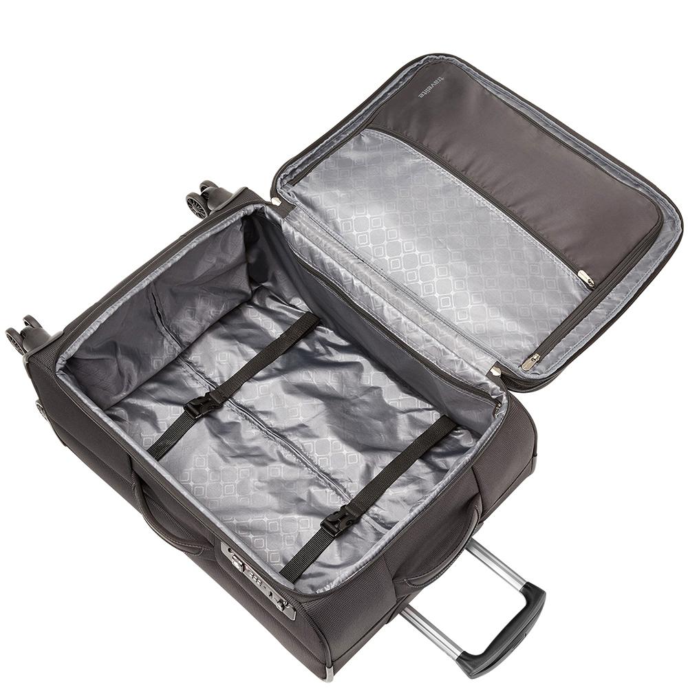 Серый чемодан 67x43x26-30см Travelite Crosslite с удобными мягкими ручками