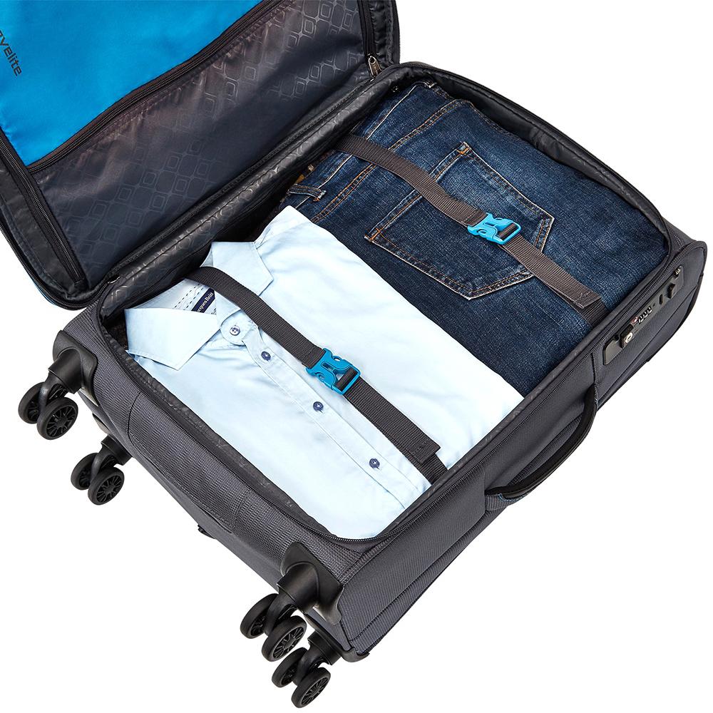 Чемодан серого цвета 67x43x26-30см Travelite Crosslite среднего размера для путешествий