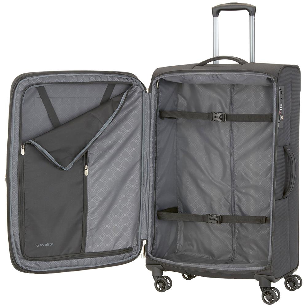 Большой чемодан 77x47х30-34см Travelite Crosslite черного цвета на 4х колесах