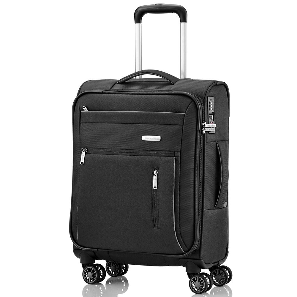 Маленький черный чемодан 55x38х20см Travelite Capri с удвоенными колесами