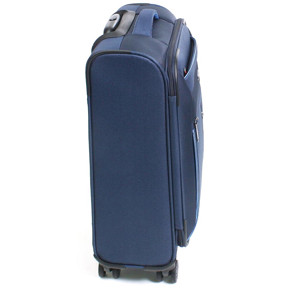 Синий чемодан 55x38х20см Travelite Capri маленького размера с удвоенными колесами