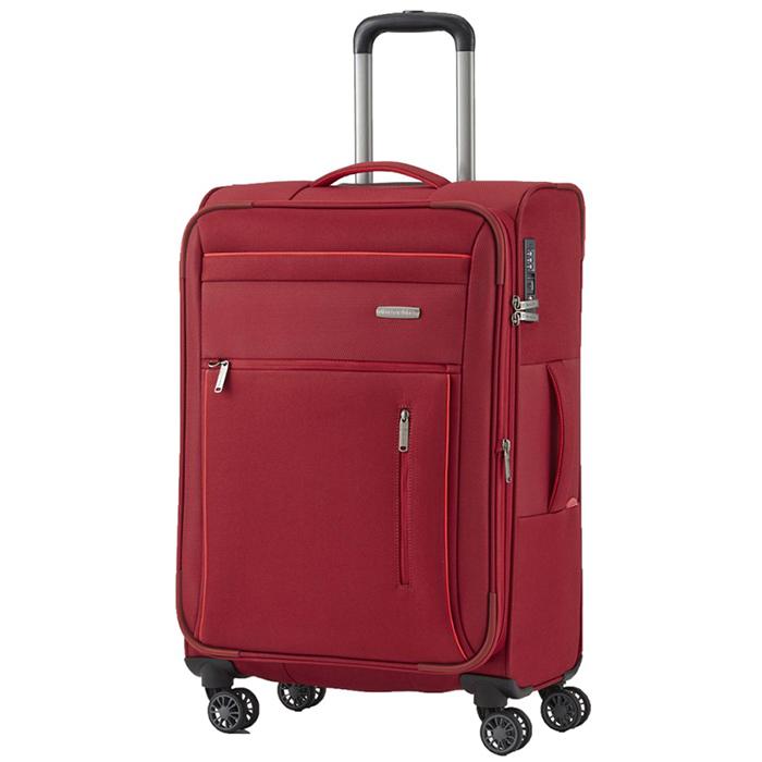 Красный дорожный чемодан 66x42x26-30см Travelite Capri с функцией расширения