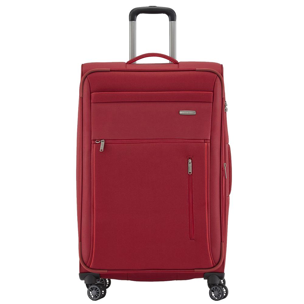 Текстильный красный чемодан 76x46х30-34см Travelite Capri среднего размера