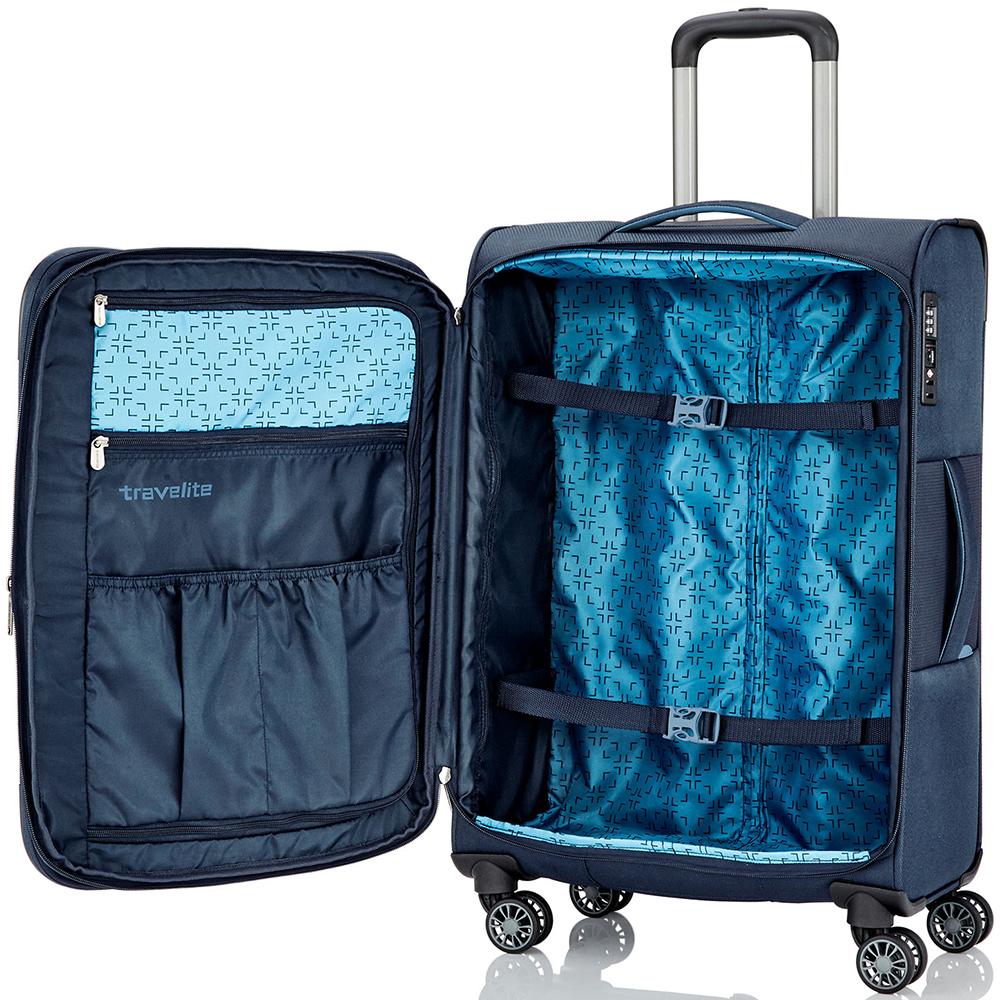 Синий чемодан большого размера 76x46х30-34см Travelite Capri с функцией расширения