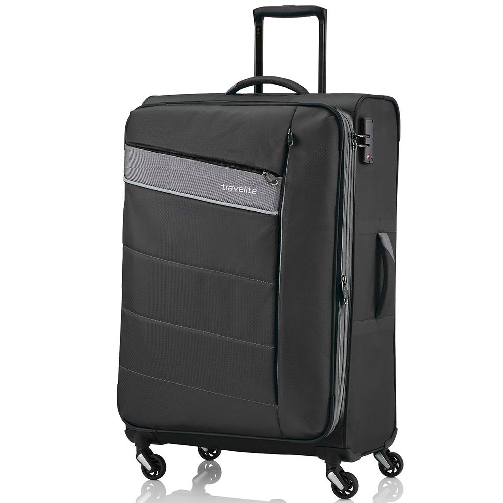 Большой чемодан 75x47х29-33см Travelite Kite черного цвета с выдвижной ручкой