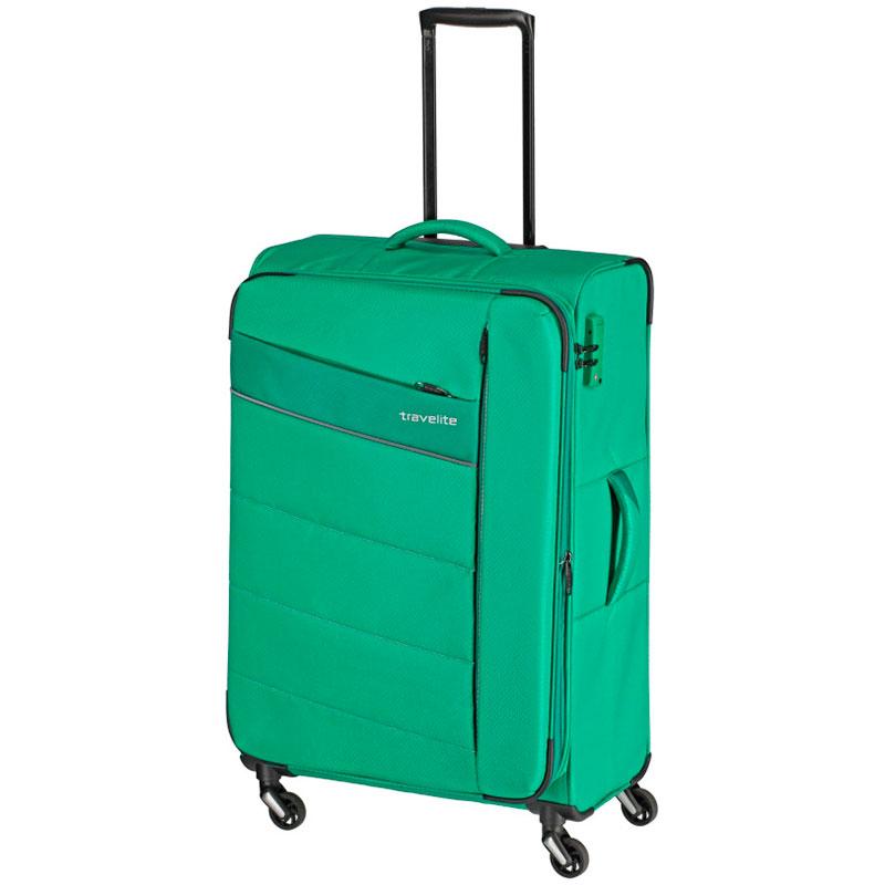 Зеленый чемодан Travelite Kite 47x75x29/33см на колесах