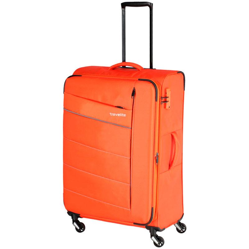 Большой чемодан на колесах Travelite Kite оранжевого цвета