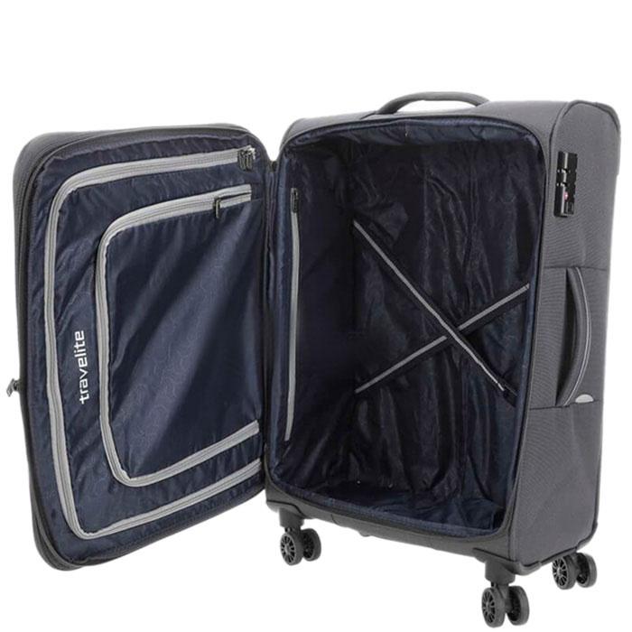 Большой чемодан 47x77x30-34см Travelite Arona серого цвета