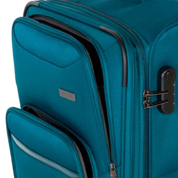 Чемодан на колесах Travelite Kendo синего цвета 42x66x26/30см