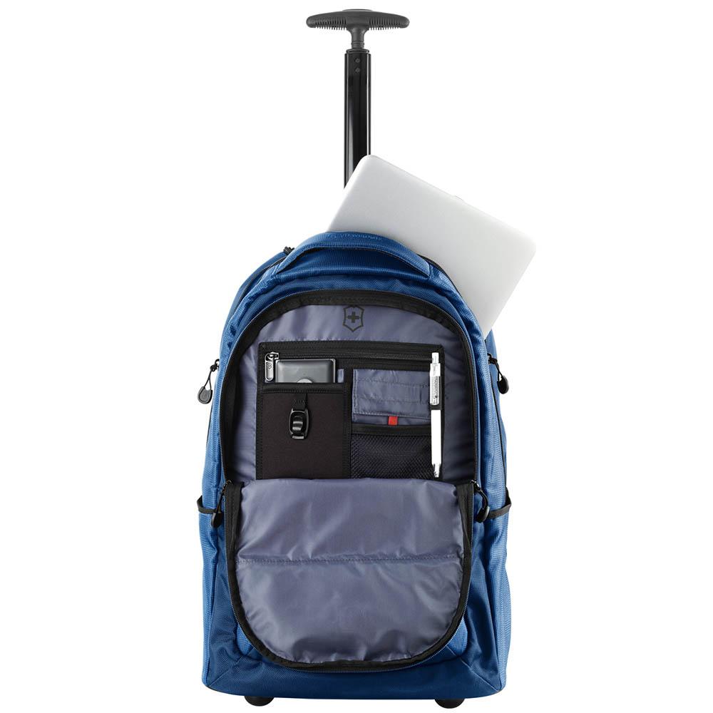 Синий рюкзак на колесах Victorinox Vx Sport Wheeled Cadet из текстиля
