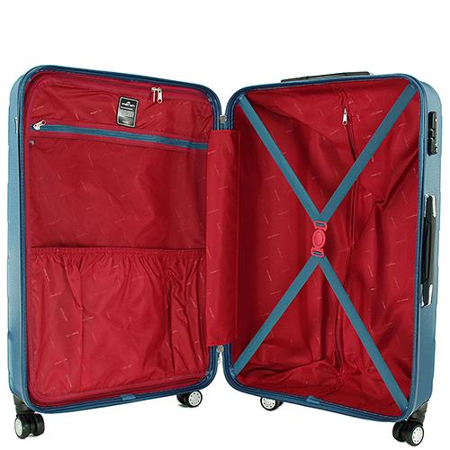 Синий среднего размера чемодан 66x42x26см March Bumper с корпусом из пластика, фото