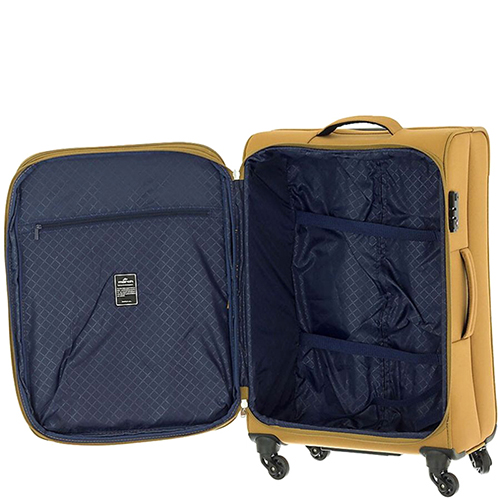 Большой чемодан 77х30х47см March Carter SE золотого цвета на молнии, фото