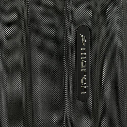Набор чемоданов March Rocky с корпусом черного цвета с синими вставками, фото
